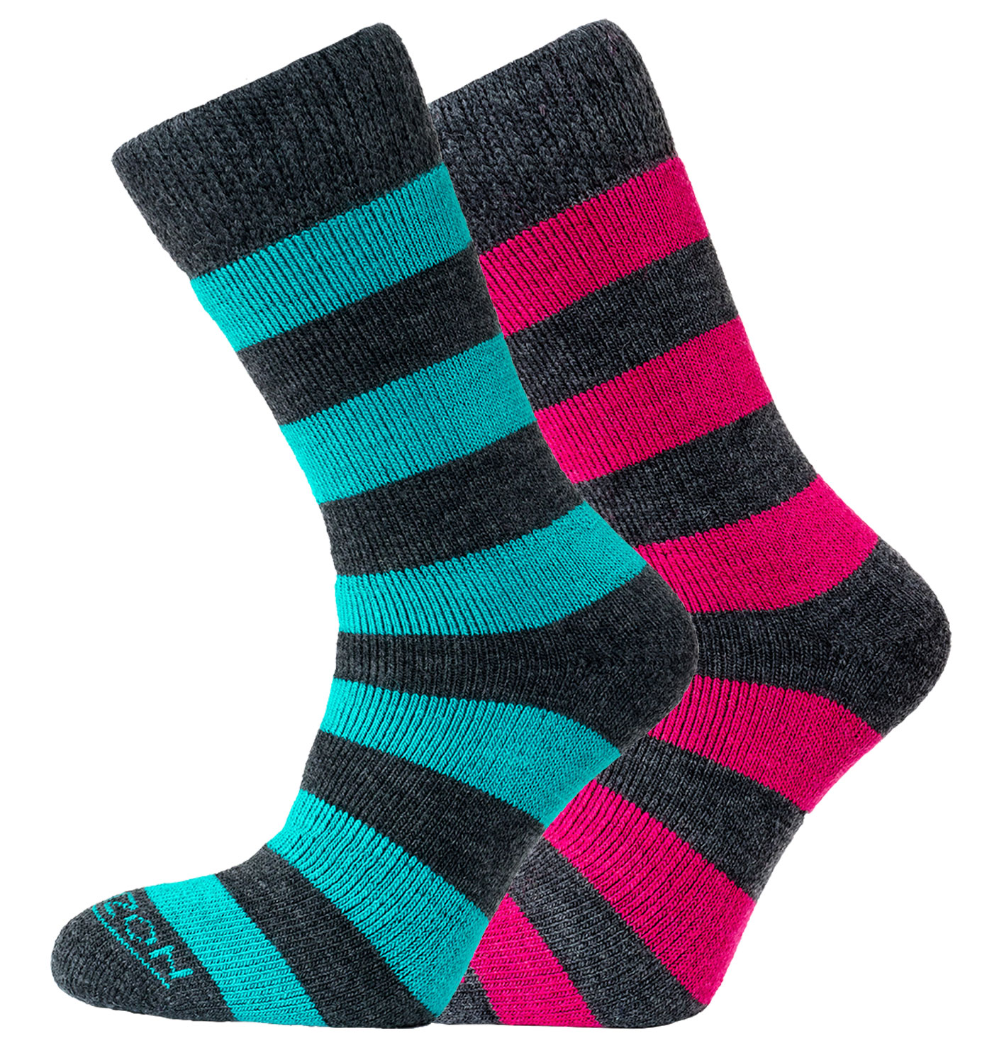 2pk Socks Charcoal with Teal and Cerise