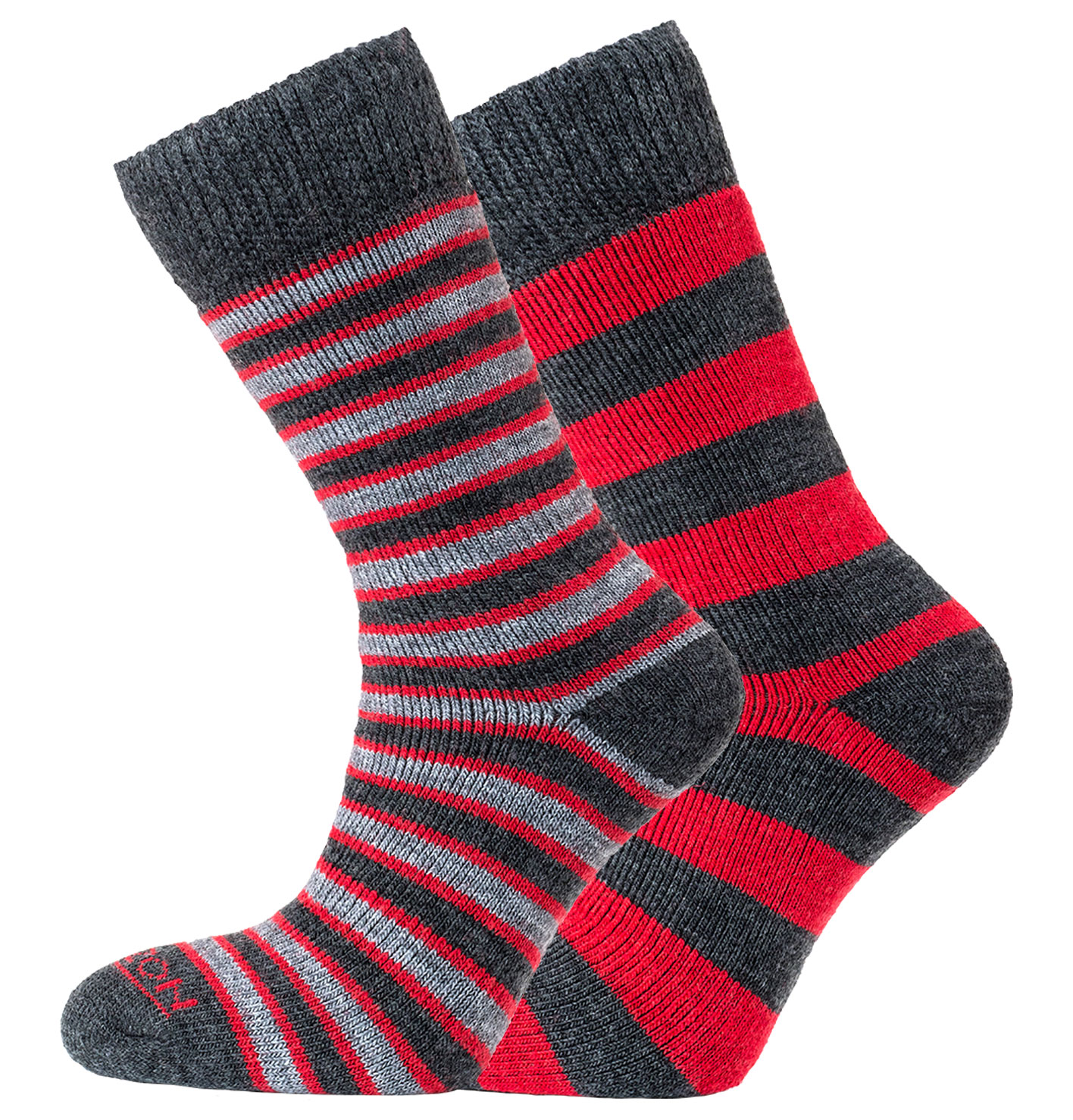 Merino Outdoor 2pk – Stripes & Hoops Red/Charcoal