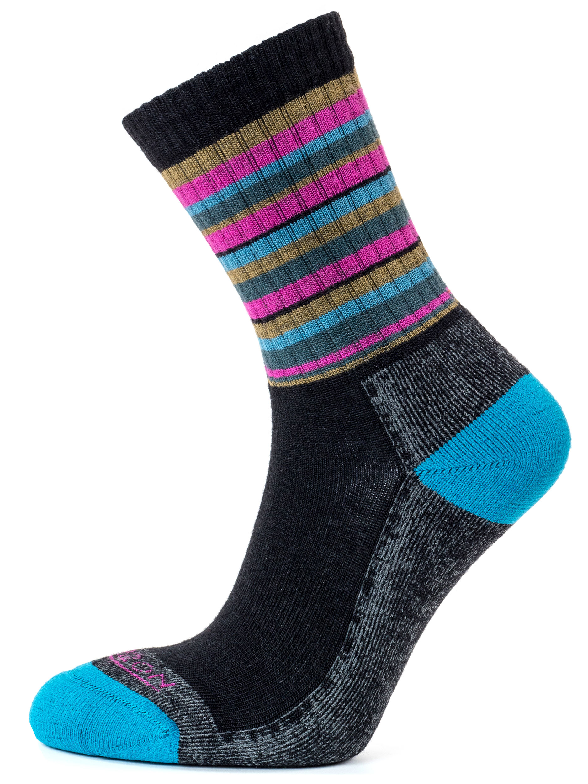 Micro Crew Women's Anthracite/Raspberry Stripe