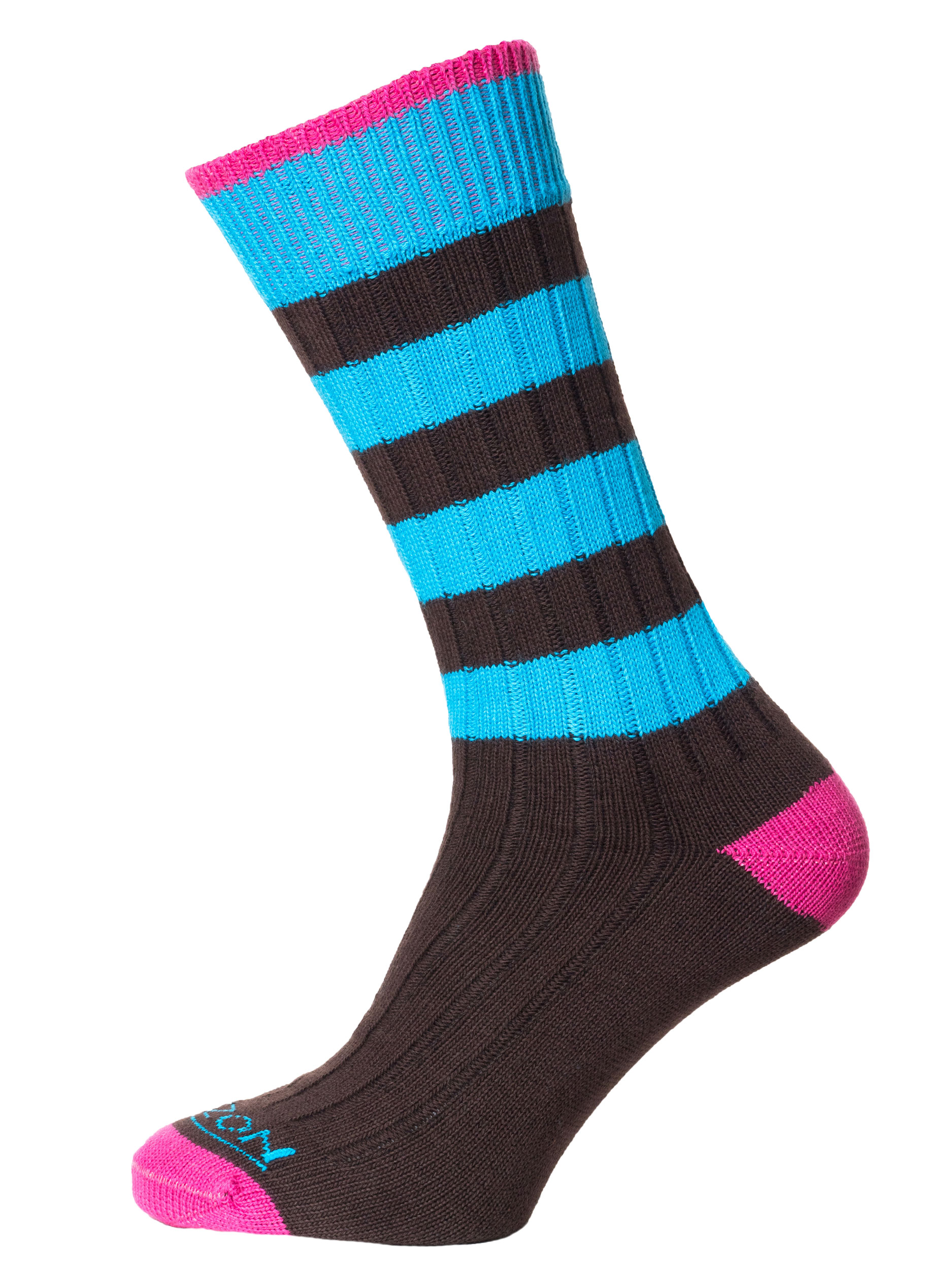 Leisure Mens Cotton Sock Brown Turquoise