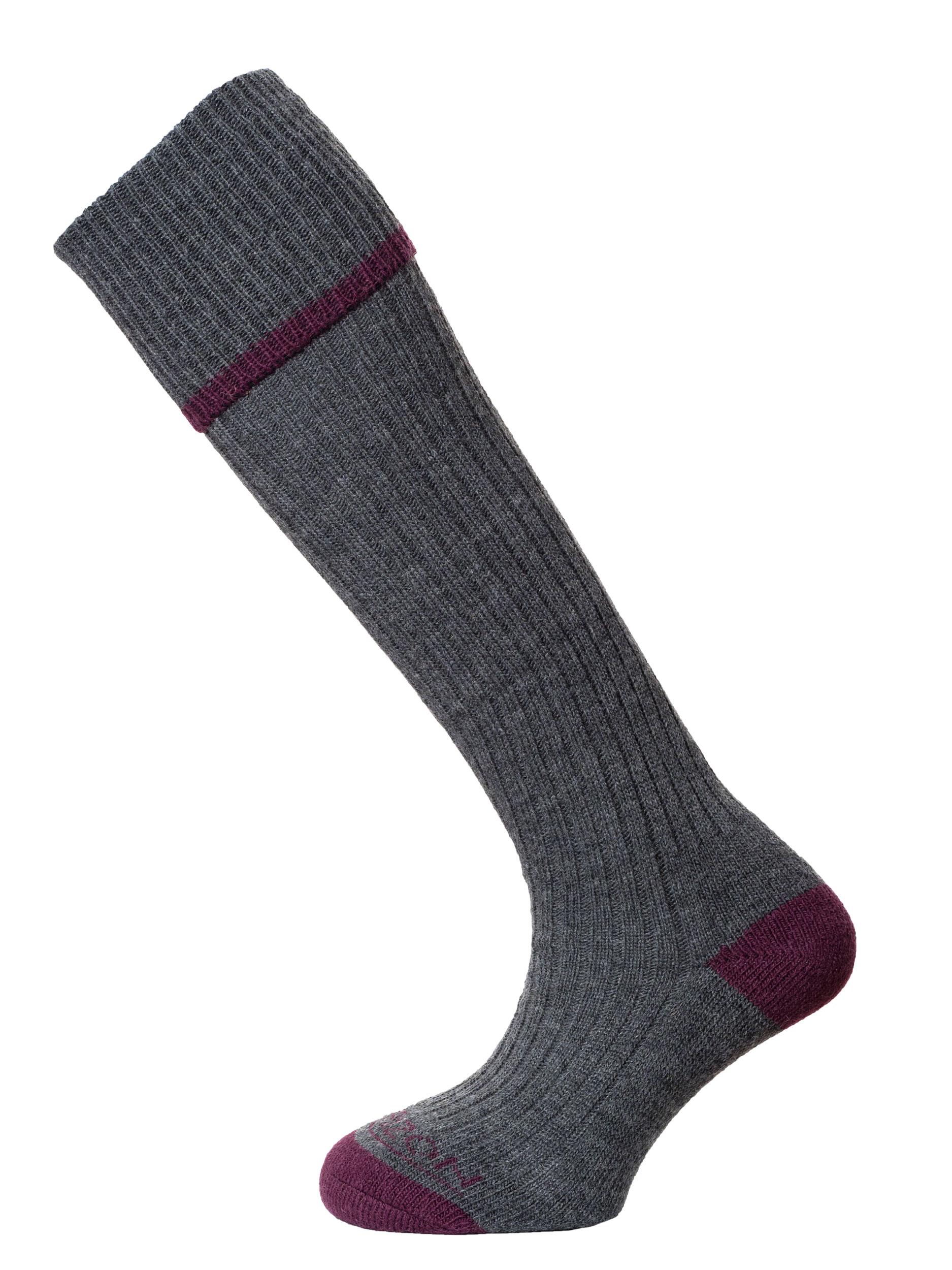Horizon Field Sport Turn-over-Top Sock Charcoal Burgundy