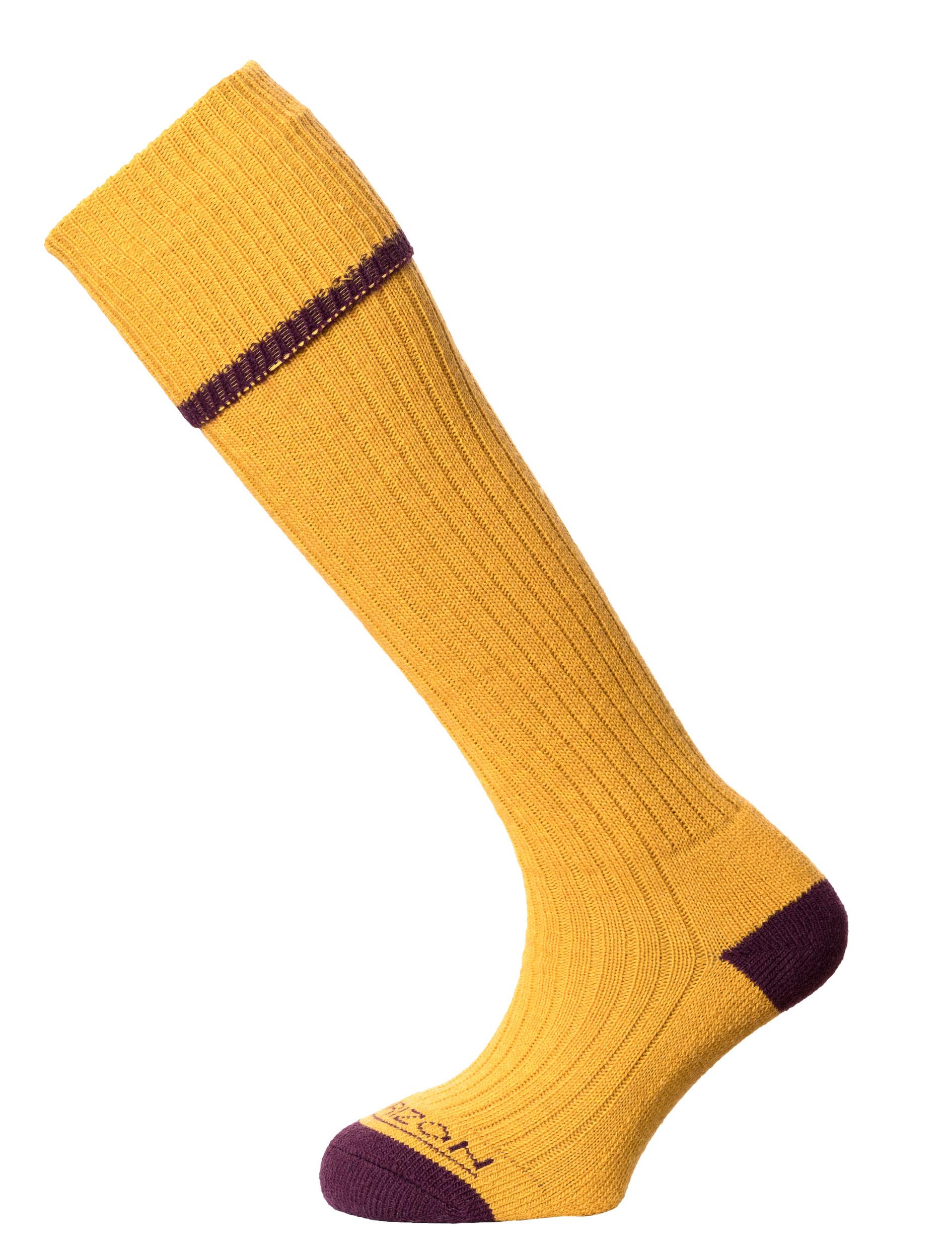 Horizon Field Sport Turn-over-Top Sock Mustard Burgundy